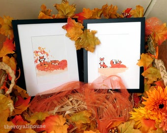"Watercolor Woodland Nursery Art- ""Fall Foxes"" Set of 2"