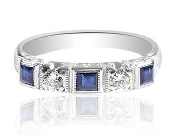 Art Deco Sapphire & Diamond Wedding Band