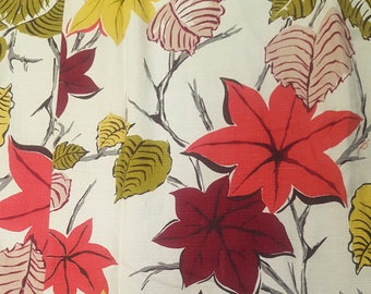 vintage barkcloth green pink red leaves