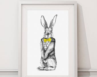 Rowly the Rabbit Woodland Animal Nursery Contemporary Prints - Childrens Art - Wall Art - Room Decor - Animal Prints - A4 Watercolour Paper