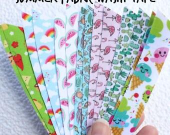 Summer Fabric Washi Tape, kawaii taco, rainbows, watermelon, ocean, flamingoes, cactus, kawaii ice-cream
