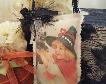 Vintage Halloween Lavender Sachet - Witch Girl With Black Kitty