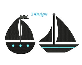 SailBoat Embroidery Design - 2 designs instant download