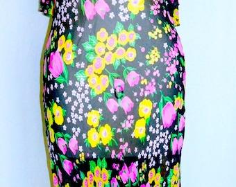 Pink Floral Sheer Vintage Dress