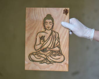 Buddha STENCIL for home wall interior decor, Wooden silhouettes, Plywood Cut out