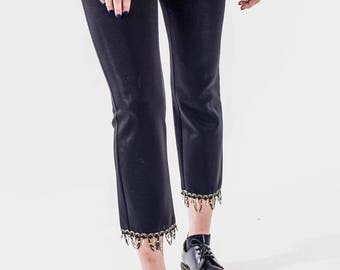 London Vinatge Fitted Trousers with Gold Tassel Detail
