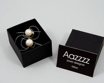 Bride jewelry, Bridesmaid gift, Minimalist jewelry, Minimalist earrings, Pearls earrings, Handmade earrings, Silver earrings, Silver jewelry