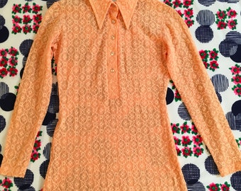 Vintage Peach Floral Lace Sheer Pointy Collar Herman Geist Long Sleeve Stretchy Shirt 60s 70s Colorful Pastel