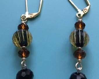Black Earrings / Gold Earrings / Dangle Earrings / Art Deco Earrings / Statement Earrings / Earring Set / Boho Earrings / Beaded Earrings