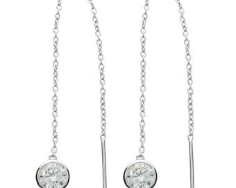 Silver Chain Drop Threader Earring- Round Stone