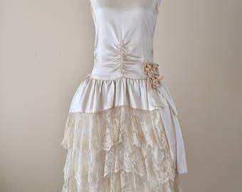 Vintage 20s Wedding Dress 1920s Silk Robe De Style Ivory Gown