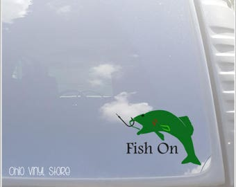 Fish On Vinyl Decal- Fishing Vinyl Decal- Bass Fish Decal- Fishing Car Decal- Fish On Car Decal- Fisherman Decal- Decals for Men- Fish Gift