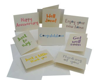 Variety pack of 8 NOTELET cards. Cream envelopes.