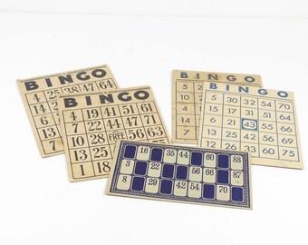 Vintage Bingo Cards - Set of 5 Scrapbooking Art Supplies