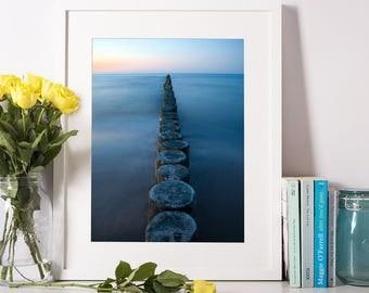 Stepping Stone Print, Ocean Print, Sea Photography, Ocean Wall Art, Printable Art, Stepping Stones, Modern Decor, Calming Art, Sea Print.