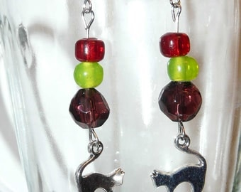 Cat Earrings: cat, jewelry, earrings, cat lover, crazy cat lady, gift, cat jewelry, silver, red, silver, gift, mother, sister