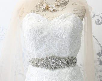 Silver Crystal Bridal Sash | Crystal bridal belt Wedding dress belt Prom Bridesmaid Maid of honor