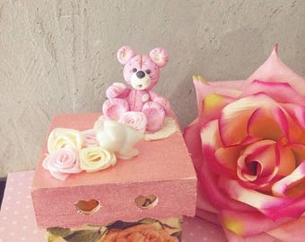 Box Teddy bear tooth of cold porcelain / gift girl