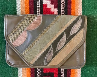 Vintage 70's/ 80's Green leather with snake skin clutch purse