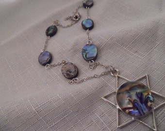 Abalone and Chain Necklace with Abalone Star of David Pendant