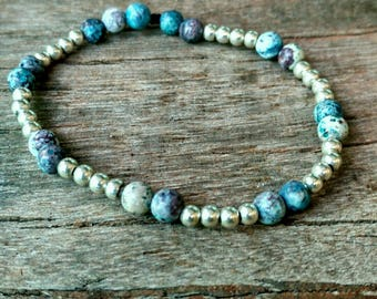 Silver and Multicolor Turquoise Bracelet