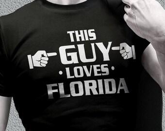 Florida shirts -Florida gifts - this guy loves Florida awesome tee shirts for men - home tee shirts - states gifts - states shirts for men