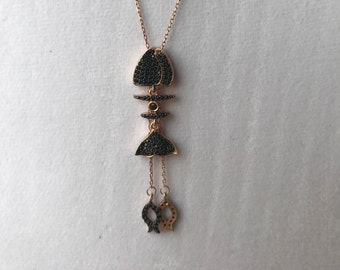Layered Sterling silver Fish necklace