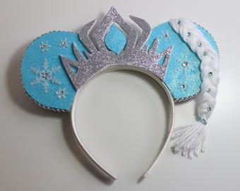 Frozen Elsa Minnie/Mickey Mouse Ears, Silver, Blue,
