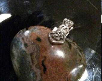 Jaspe polychrome 28,74gr-Pendentif coeur