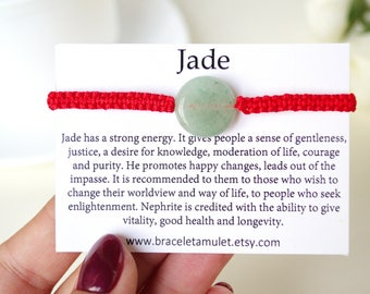 Green Jade Bracelet Gifts For Mom From Daughter Protection Amulet Personalized Bracelets For Women Kabblah Red String Bracelet