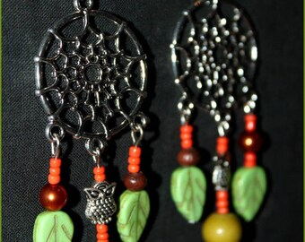 """Forest spirit"" and Howlite stones earrings"