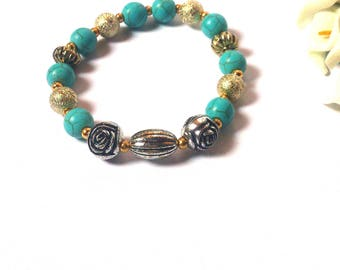 Bracelet Turquoise Natural Stone - Tough Gold and Silver Beads Fashion Bracelet - Gift for her - For girls - Friendship bracelet - Jewelery.