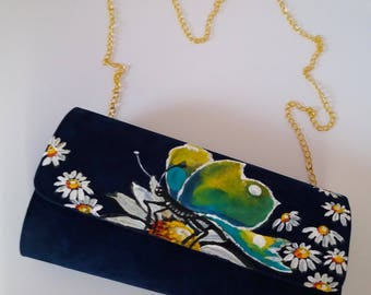 Butterfly Bag, Hand Painted Bag, Handpainted Clutch, Bag Art, Clutch Bag Velvet Clutch, Butterfly Clutch, Hand painted Clutch,Buttefly Bag