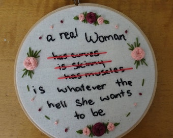 Real Woman Quote Embroidery