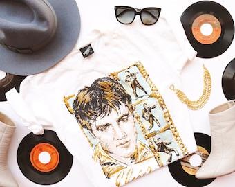 80s-90s Elvis Gold Sparkly Souvenir T-Shirt by Diamond Dust | Size S/M