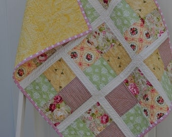 Vintage Pink and Yellow Floral Quilt