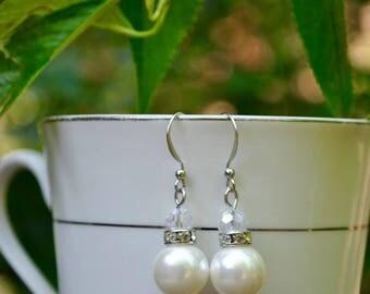 Pearl Earrings, Pearl Dangle Earrings, Pearl Drop Earrings, Special Occasion, Bridal Party Earrings, Wedding Earrings, Prom Earrings