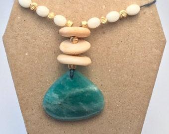 Amazonite Necklace with Bone Beads