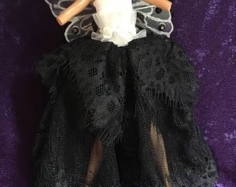 Black and White Gothic Fairy Dress with Attached Wings to Fit a Monster High Doll