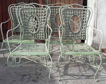 Set of 4 garden vintage 1950s/60s metal and wicker chairs