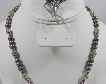Silver Tone 6mm Purple Pearl Bead Rhinestone Filigree Fish Hook Clasp Necklace Bouquet Brooch Pin Set