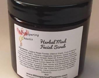 Whispering Phoenix Herbal Mud Facial Scrub - Microdermabrasion - Face Scrub - Exfoliant - Fade Scars - Blemish Scrub - Acne Scrub - Scrub