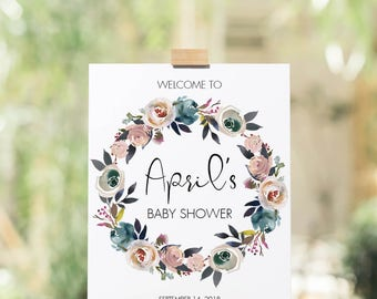 Welcome Wreath Sign for Baby Shower Floral Decoration Table Signs Custom Editable Baby Shower Sign Welcome To Sign Party Decor Printable LF1