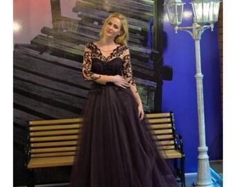 Black Tulle Skirt Evening Dress