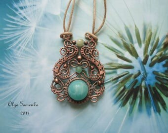 Copper pendant wire wrap Pendant with amazonite