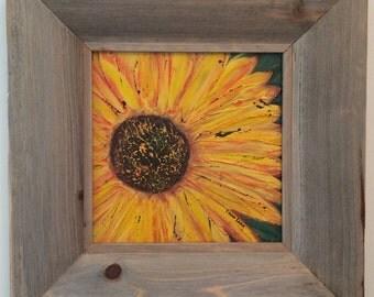 Original acrylic painting sunflower in barn wood frame