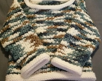 Handmade Crocheted Toddler Sweater, Blue, Brown, White, Ages 1-2