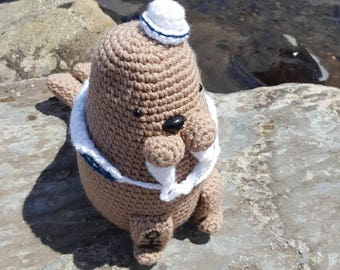 Handmade stuffed sailor walrus