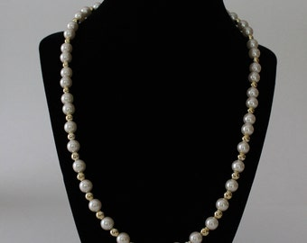 Ivory pearl necklace single strand with gold spacer acrylic beads/ Bridal necklace/ Wedding jewellery/ Engagement party/ Prom/ Graduation