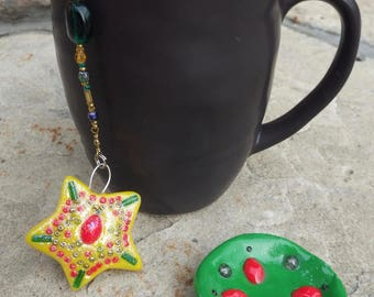 Christmas Star Tea Infuser with Festive Green Dish